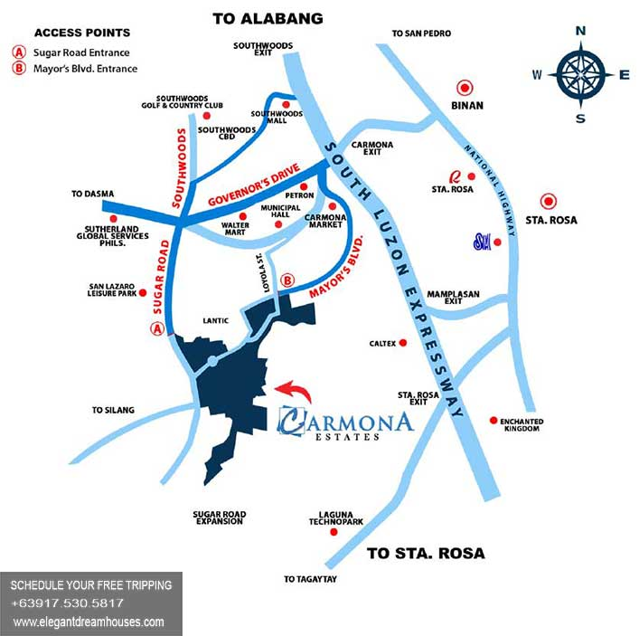 Carmona Estates - Affordable Housing In Cavite Philippines - Location Map
